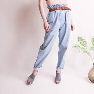 SALE Vintage blue high waist paper bag denim jeans